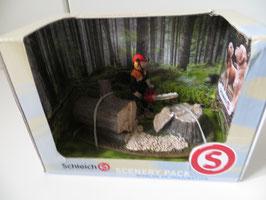 Schleich Waldarbeiter mit Säge und Baum, in OVP