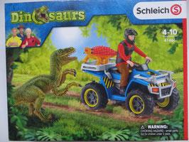 Schleich Flucht auf Quad vor Velociraptor, 2019