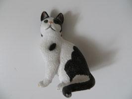 Schleich Katze sitzend schwarz weiß 2008