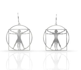 Ohrring VITRUVIAN MAN in Silber