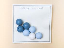 Silikonperlen, Blaumix, 15mm /  7 Stück