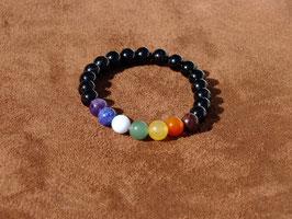 Bracelets en tourmaline noire avec chakras