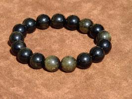 Bracelets en obsidienne dorée 12 mm