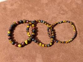 Bracelets en oeil-de-tigre/boeuf/faucon