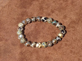 Bracelets en agate du Tibet foncée