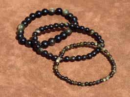 Bracelets en obsidienne dorée