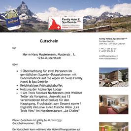Geschenkgutschein Family Hotel & Spa Desirée