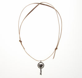 La clé du bonheur cuir brun foncé
