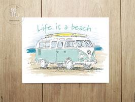 "Postkarte ""life is a beach"""