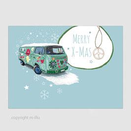 """Postkarte """"Weihnachtskarte, VW-Bus"""""""