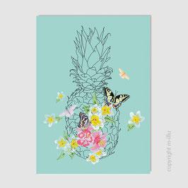 "Postkarte ""Ananas, Blüten"", Büttenpapier"