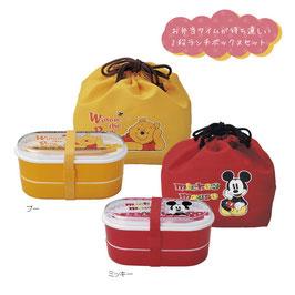 【最安値】キャラクター 巾着付二段お弁当箱