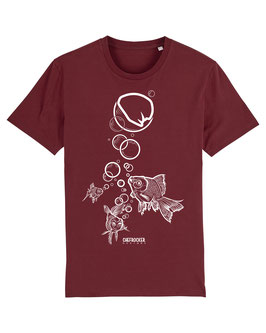 T-SHIRT BURGUNDY FISH WHITE