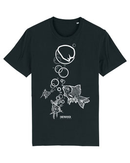 T-SHIRT BLACK FISH WHITE