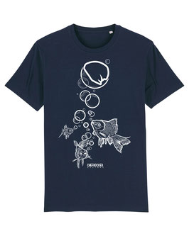 T-SHIRT NAVY FISH WHITE