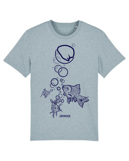 T-SHIRT ICEBLUE-HEATHER FISH DARKBLUE