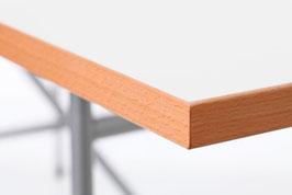 TISCH-PLATTE - Weiss + RAND Buche Natur - Stärke 25 mm