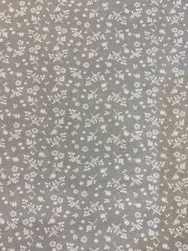 Algodón tipo liberty flores gris y blanco