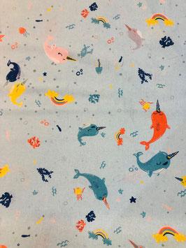 Algodón narvales azul
