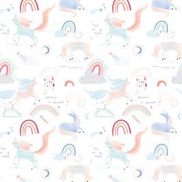 Algodón unicorns in the air