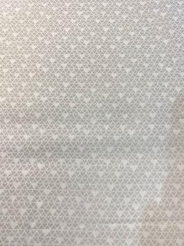Algodón corazones blanco y gris