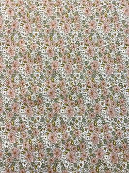Algodón flores tonos rosas y fondo lino