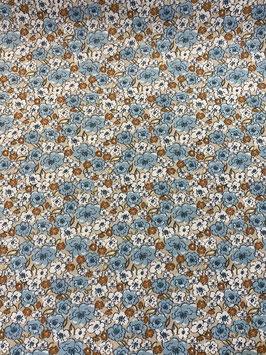Algodón flores tonos azules y fondo lino