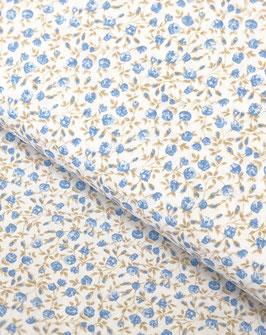 """Algodón """"Flores Grises/Azules"""""""