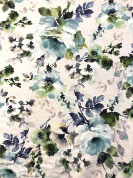 Loneta flor grande en tonos verdes y azules