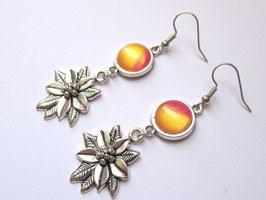 Boucles d'oreilles fleur d'or