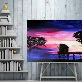 "Grand tableau paysage marin ""Carrelet""  60x80 cm"
