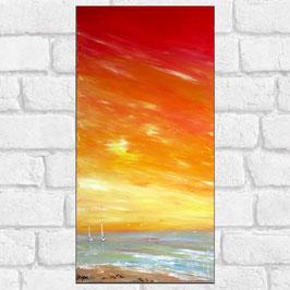 """Tableau paysage marin """"Summer"""" 30x60cm"""