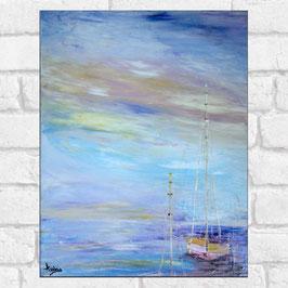 "Tableau paysage marin ""Voiliers"" 40x50 cm"