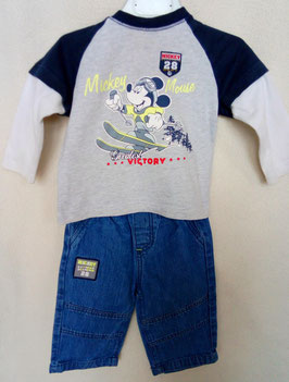 Jean et T-shirt Mickey 6 mois