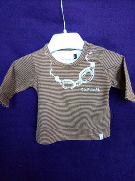 T-shirt manches longues marron 1mois