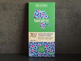 "fairafric Bio Zartbitterschokolade 70 % ""Tigernuss & Mandel"" , 80 g Tafel"