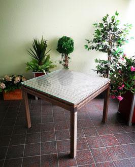 Tisch Geflecht mit Glasplatte