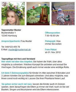 Tagesmutter-/-vater-Anzeige Text & Bild & Link (bis 750 Zeichen)