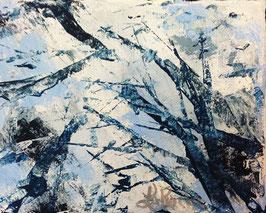 """""""À Travers les Branches"""" Oeuvre originale 4x5 pouces"""