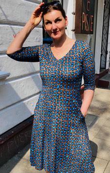 """Kleid Jessalyn hier im Muster """"braun-kobalt"""""""