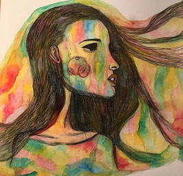 the colorful woman