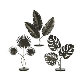 Statue Blätter Metall schwarz