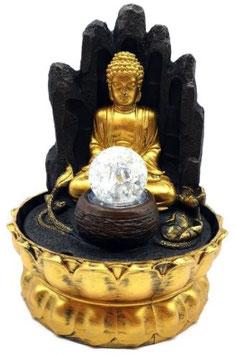 Fontaine résine Bouddha dorée sur main Led 29cm