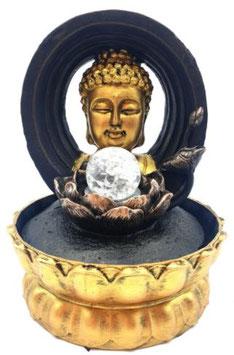 Fontaine résine tête Bouddha sur cercle Led 28cm