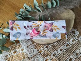 """Stirnband Turban """"Blumen auf Weiß"""""""