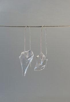 schlichte Ohrhänger in Silber 925 aus Kugeldraht mit je einem Glassplitter