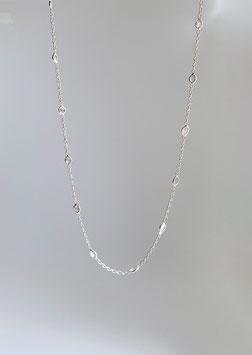 feine Ankerkette diamantiert in Silber 925 mit kleinen eingefassten Diamantscheiben
