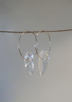feine Kreolen in Silber 925 mit je einem Glassplitter