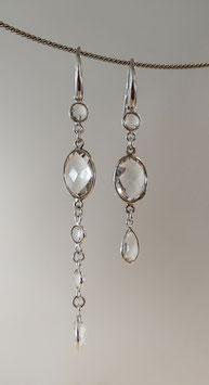 Ohrhänger in Silber 925 mit facettierten Bergkristallen