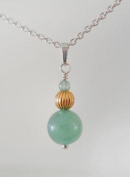 Anhänger mit Aventurin in Silber 925 und Gold plattierter Perle